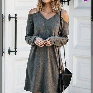 OLIVE SHOULDER CUTOUT SWEATER DRESS